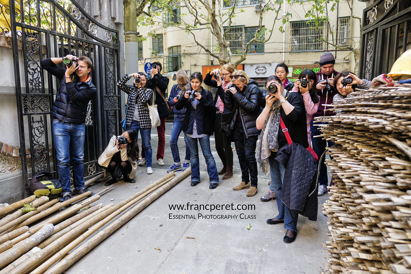 Essential Photography Class student during a street photo shoot in Shanghai