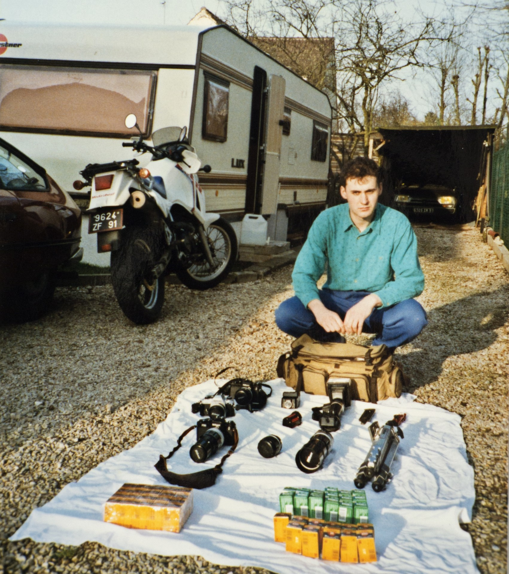 My basic photography equipment back to 1988 in preparation of my first report in USA (Daytona Bike Week). Yes, I was living in a caravan like a gipsy.