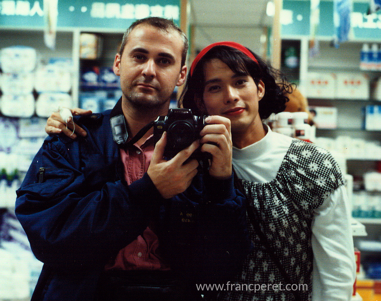 Self portrait with Kevin Lin dressed as a woman for Qu You Ning movie (Superman get a mask) in 1995.