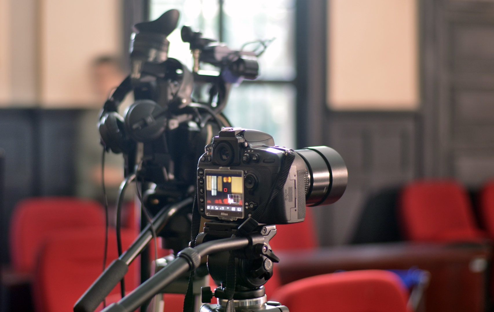 All cameras and equipment is provided by Franc who has an arsenal of film making gear at hand. (photo: Diarmuid)