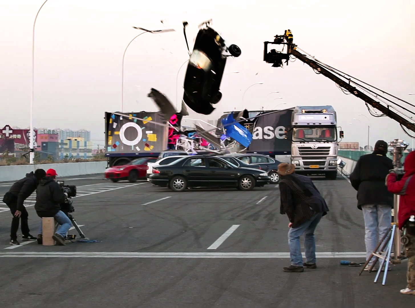 Action Shot Set up on Highway for a Making Of video.