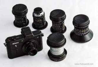 The Nikon1 V1 and some of my best C-mount  lenses.