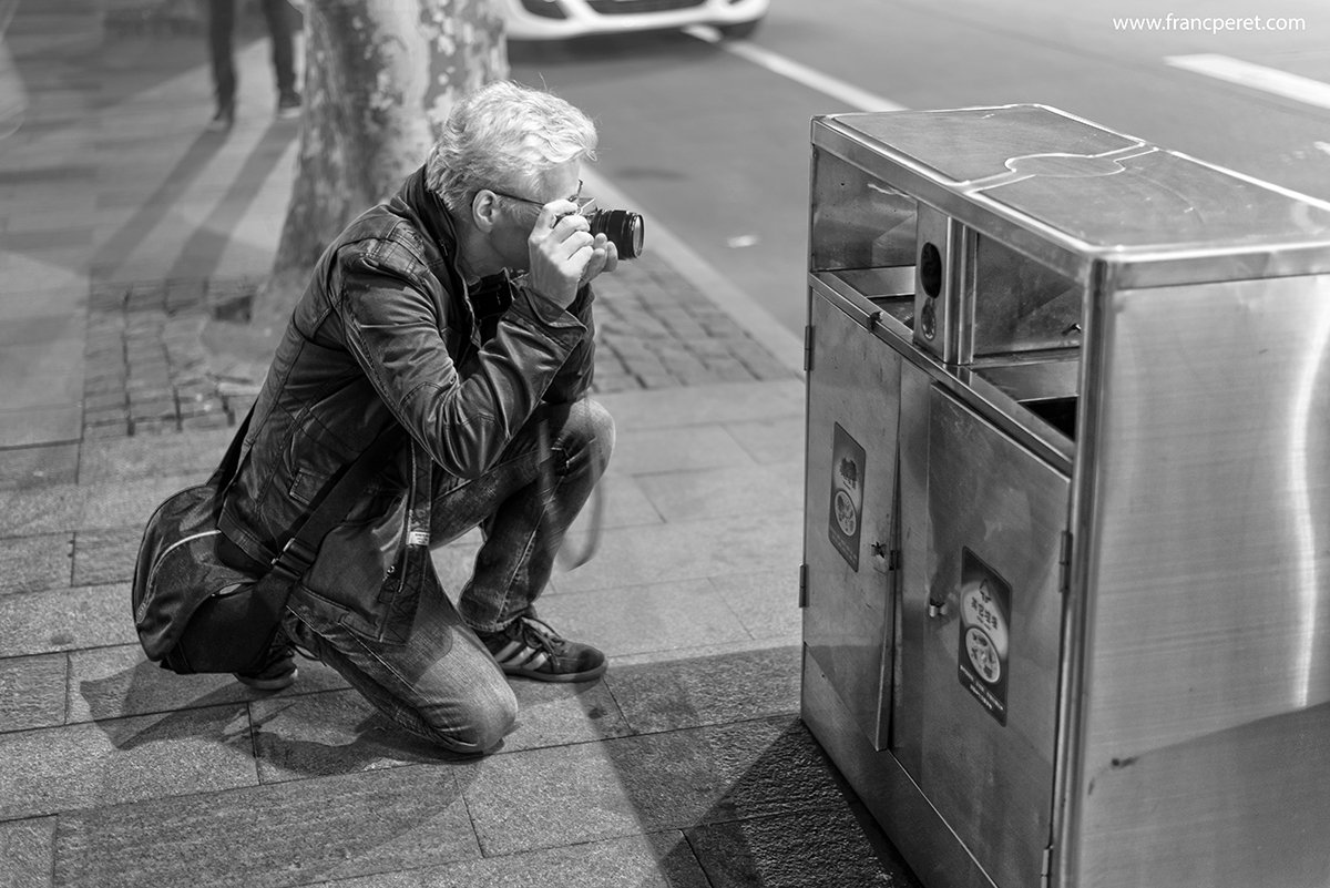 When my Students start to find aesthetic interest in garbage can, I know that my teaching was efficient and meaningful to them. Klaus at work with his Fujifilm Camera. Nikon D750 ISO400 1/10s 50mm f/1.8 @ f/2.0
