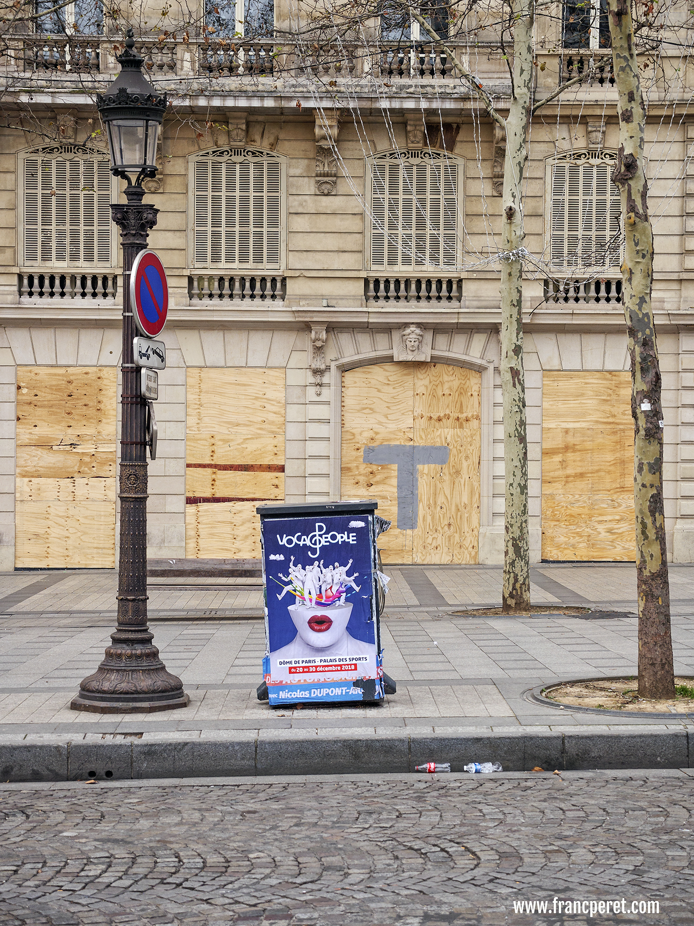 Protected stores against potential riot.